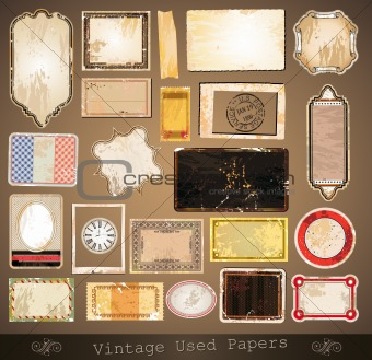 Vintage used papers and labels