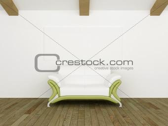 Modern sofˆ white and green