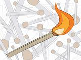 match in fire