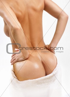 back of beautiful woman with towel
