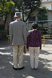Rear view of senior couple
