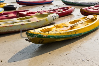 Old Colourful kayaks