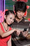Young couple with cellphone