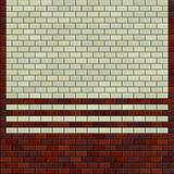 3d render red brown ivory white tile pattern on a wall