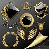 Set of heraldic elements