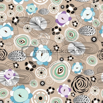 abstract and floral pattern