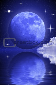 Abstract mysterious moon and some stars clouds over the water