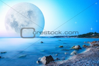 abstract landscape with moon on seacost
