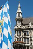 Bavarian flag and munich town hall