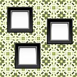 three blank white frames on baroque wallpaper. vector