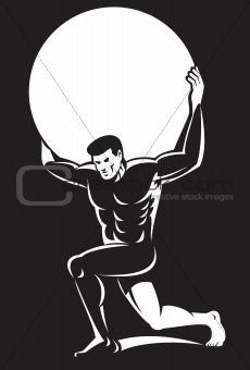atlas lifting sphere ball on shoulders