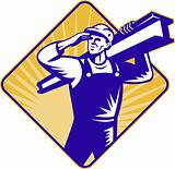 construction worker salute carry i-beam
