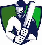 cricket player batsman with bat shield
