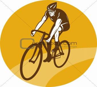 Cyclist riding racing bike