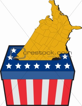 American election ballot box map of USA