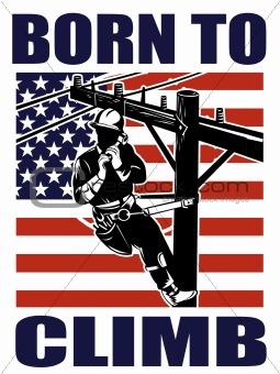 American power lineman electrician repairman retro
