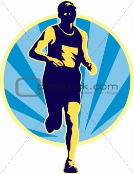 marathon runner running retro
