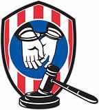 Gavel handcuff hand American stripes shield