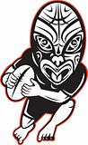 Rugby player running wearing Maori mask