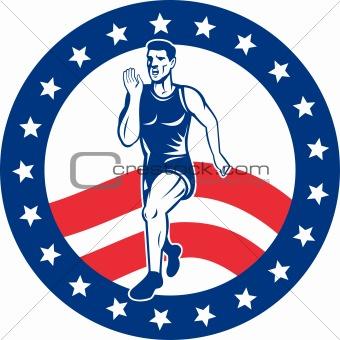 American Marathon runner stars stripes