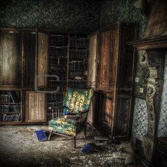 library in an abandoned complex