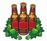 Beer bottles and hop