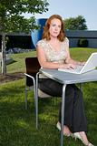 Female office worker working outdoors