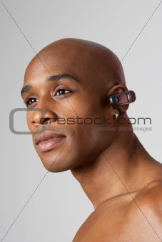 Man wearing hands free headset