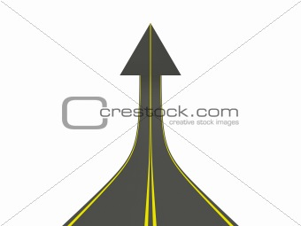 Arrow shaped road isolated on white