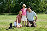 Family with a dog