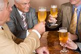 Senior men raising their glasses