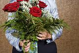 Woman holding bouquet of flowers