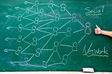 social network diagram on the blackboard with thumbs up