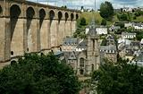 Railway viaduct and cathedral in Morlaix