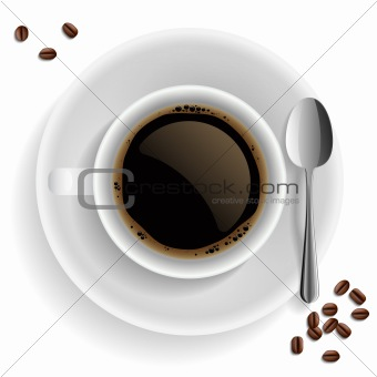 Cup of black coffee with coffee grain and spoon.