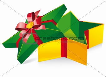 Green with yellow box. Shape star. Vector illustration
