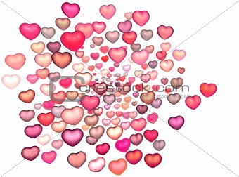 3d render strings of floating heart in multiple pink red