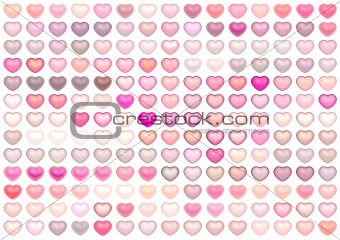 3d render collection floating love heart in multiple pink on whi