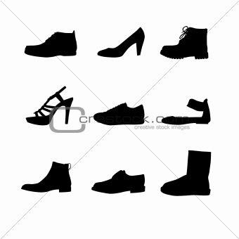 Black shoes silhouettes