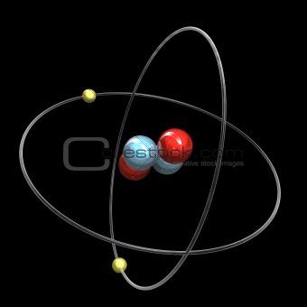 3d Helium Atom - black