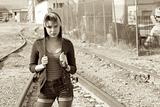 Run Away Girl On Rail Road Tracks