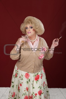 Drag Queen With Martini and Cigarette