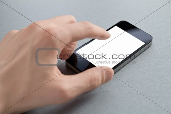 Touching Blank Mobile Phone