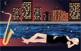 beautiful vector girl dreaming with saxophone with night city and river on the background