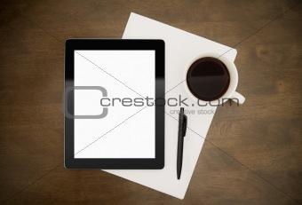 Blank Tablet PC On Desktop