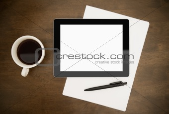 Blank Tablet PC On Desktop