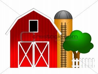 Red Barn with Grain Silo Illustration