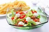 Mixed vegetable salad with tuna and cottage cheese