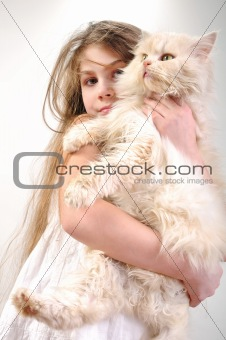 kid  with a Persian cat