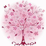 Pink decorative spring tree